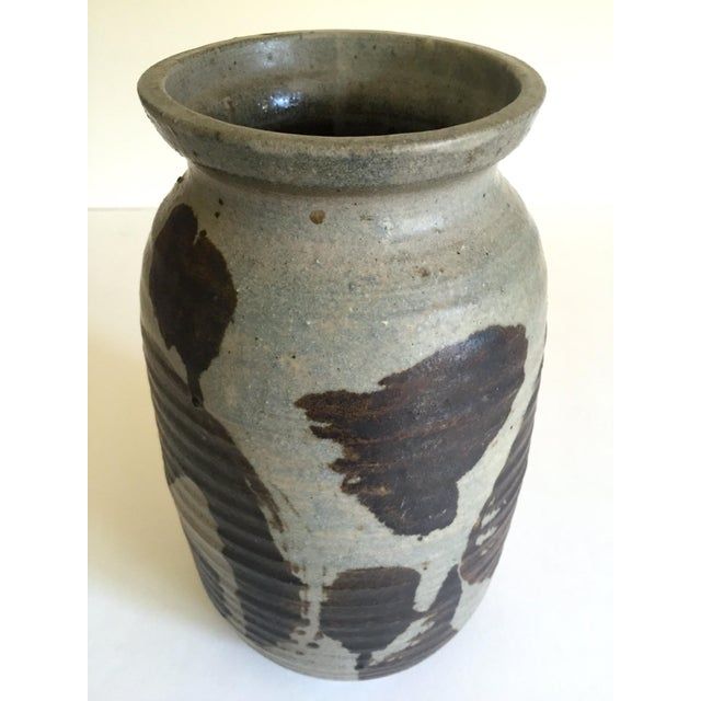 Vintage 1965 Mid Century Organic Modernist Studio Pottery Abstract Expressionist Signed Stoneware Ceramic Vase For Sale - Image 11 of 13