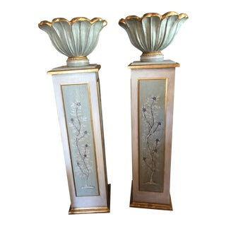 Hand Painted Pedestals With Urns- Set of 4 For Sale