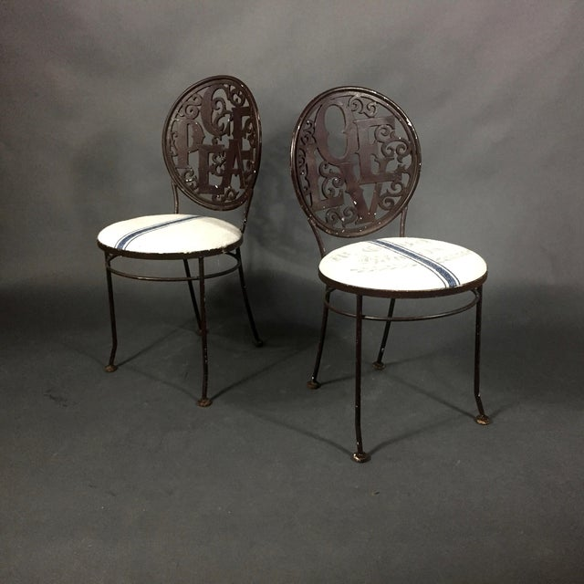 Pair Mid-Century Peace Love Garden Chairs, Grainsack Covers For Sale - Image 10 of 10