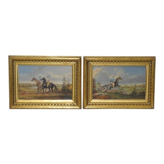 Pair of Early 20th Century Horse and Rider Paintings For Sale