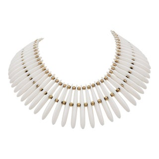Monet Goldtone & White Lucite Wide Collar Necklace, 1974 Ad Piece For Sale