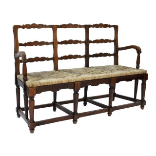 Antique French Ladder-back Rush Seat Bench