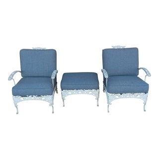Vintage Iron Patio Chairs & Ottoman - Set of 3