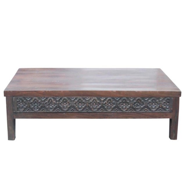 Dark Walnut Carved Drawer Coffee Table