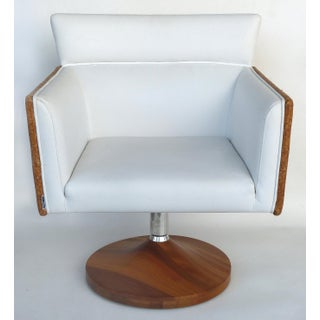 Brazilian Caned Swivel Chairs W/ Wood Bases by Saccaro-A Pair Preview