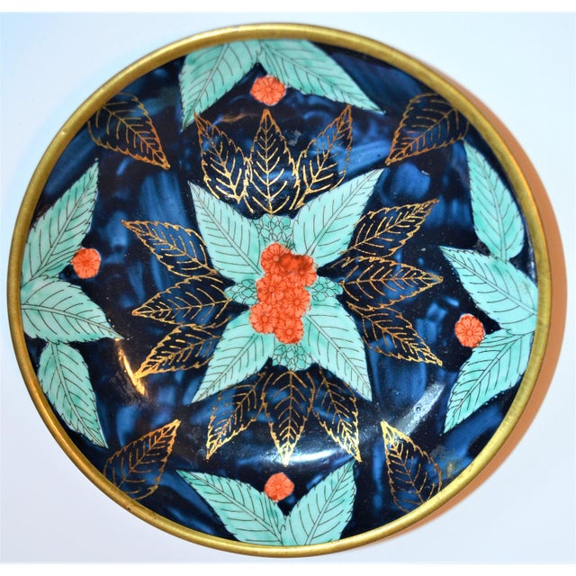 Metal Vintage Asian Indigo and Turquoise Bowl Encased in Brass For Sale - Image 7 of 7
