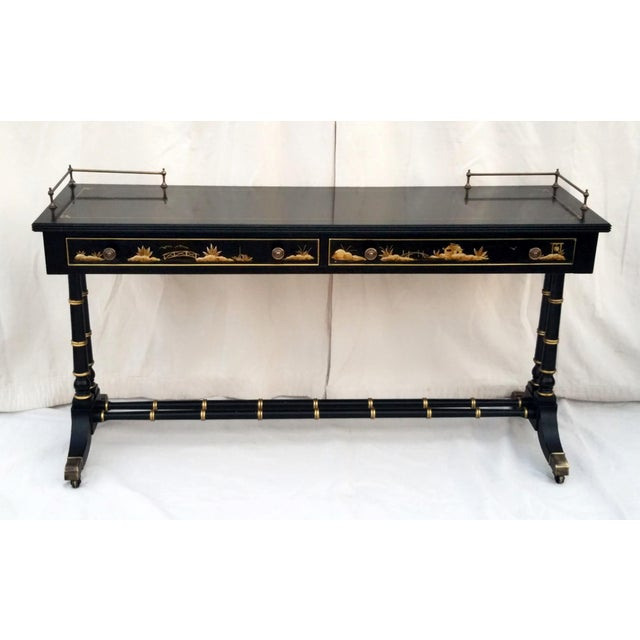 Asian Vintage Hekman Asian Chinoiserie Faux Bamboo Table With Matching Stool For Sale - Image 3 of 13