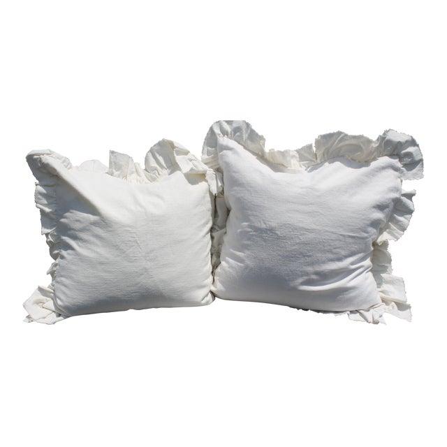 White Ruffled Pair of Europeon Pillows - Image 1 of 3