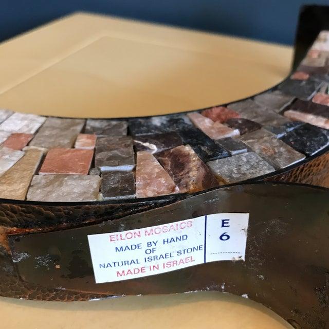Stone & Copper Mosaic Shabbat Candlesticks - A Pair - Image 6 of 6