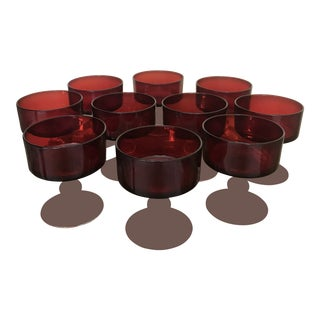 Ruby Red Cocktail Glasses - Set of 10 For Sale