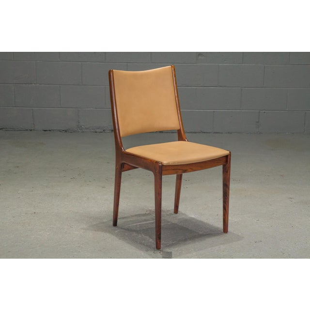 1960s Vintage Danish Modern Rosewood & Leather Dining Chairs- Set of 4 For Sale In Boston - Image 6 of 13