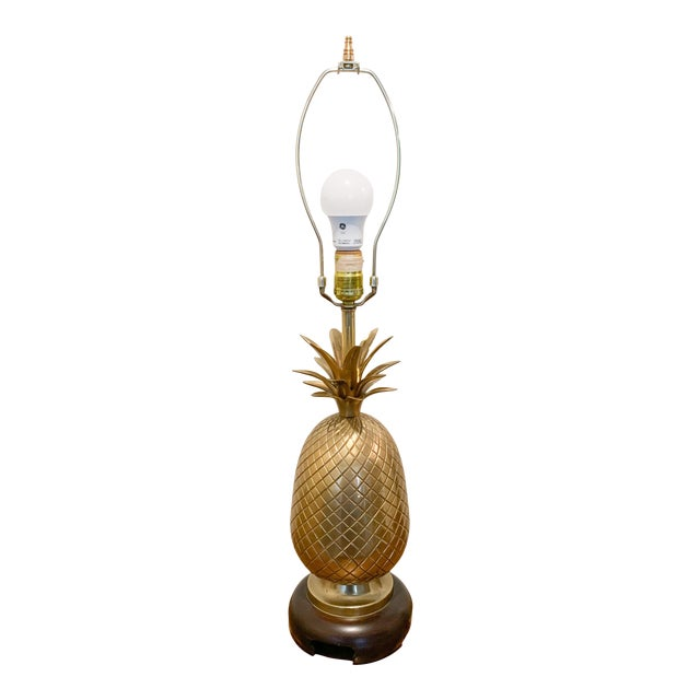 1960s Frederick Cooper Brass Pineapple Table Lamp For Sale