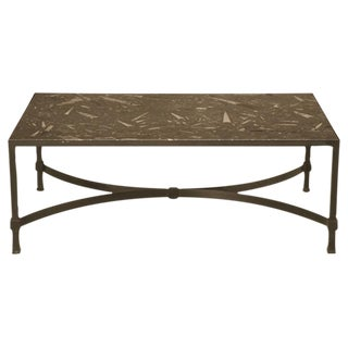 Awesome Vintage Steel Cocktail Table w/40 Million Year Old Fossil Stone Top For Sale