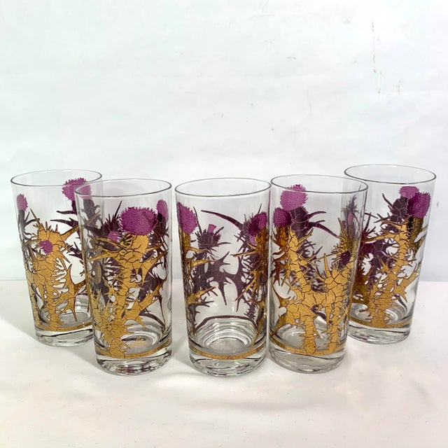 Mid-Century Modern Gregory Duncan Purple Gold Thistle Barware Ice Bucket & Highball Glasses - Set of 6 For Sale - Image 10 of 13