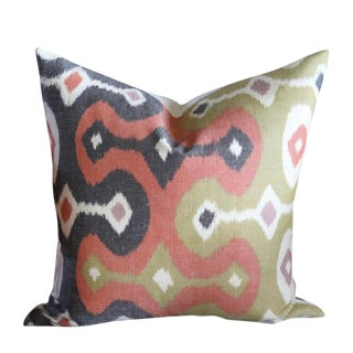 Martyn Lawrence Bullard for Schumacher Ikat Pillow Cover For Sale