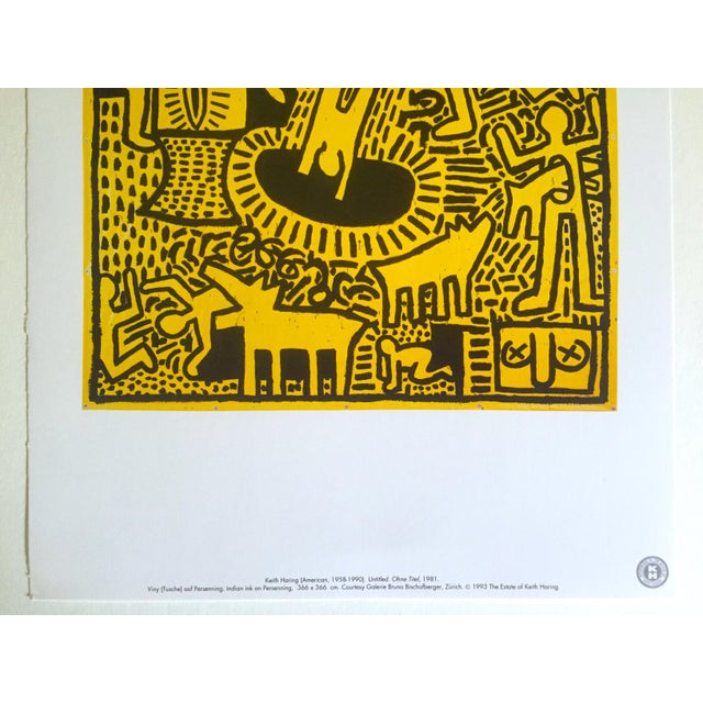"Contemporary Keith Haring Estate Rare Vintage 1993 Collector's Pop Art Lithograph Print ""Yellow People"" 1981 For Sale - Image 3 of 8"