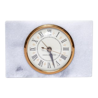 Vintage Marble and Brass Electric Clock For Sale