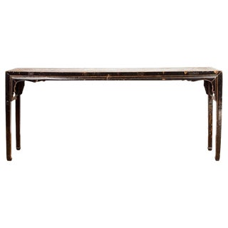 19th Century Chinese Black Lacquered Console Table For Sale