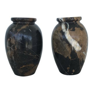 1940s Vintage Marble Vases - a Pair For Sale