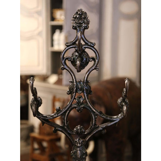 19th Century French Polished Cast Iron Hall Stand Signed Allez Freres, Paris For Sale - Image 10 of 13
