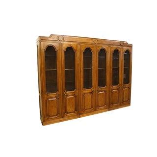 "John Widdicomb Grand Rapids Jacobean Style 114"" Lighted Curio For Sale"