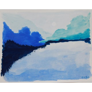 Abstract Blue Mountain Landscape Painting For Sale