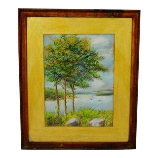 Vintage Framed Pastel Landscape Scene - Signed For Sale