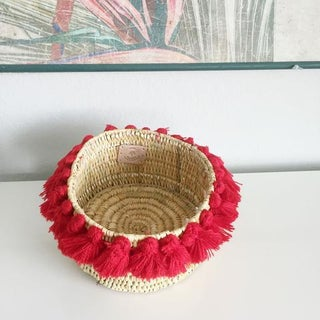 Moroccan Red Tassel Small Basket Preview
