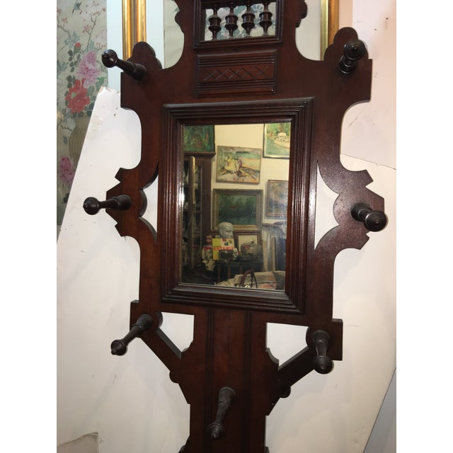 Old Victorian Walnut Hall Tree Umbrella Stand For Sale In New York - Image 6 of 11