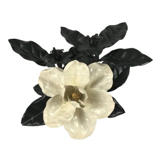 Large Hollywood Regnecy Magnolia Tole Candlestick Centerpiece For Sale