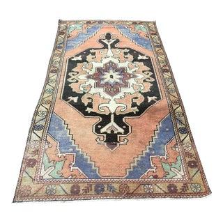 Handmade Turkish Decorative Bohemian Rug- 3′11″ × 7′9″ For Sale