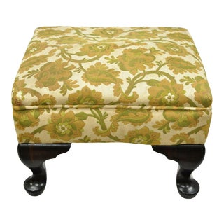 Early 20th Century Antique Queen Anne Victorian Wood Upholstered Ottoman For Sale