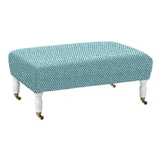 Oliver Cocktail Ottoman in Navy Dot STripe For Sale