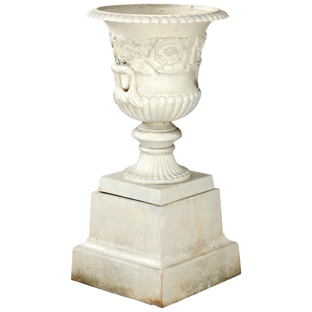 Antique French Neoclassical 2-Piece Cast Iron Garden Urn, 20th Century For Sale - Image 10 of 10