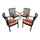 Image of 1970s Vintage Stendig Italian Black Lacquered Slat Back Arm Chairs- Set of 4 For Sale