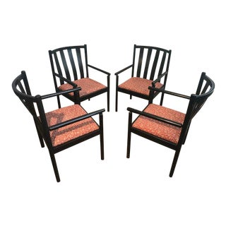 1970s Vintage Stendig Italian Black Lacquered Slat Back Arm Chairs- Set of 4 For Sale