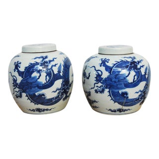 Chinese Blue and White Porcelain Ginger Jars - a Pair