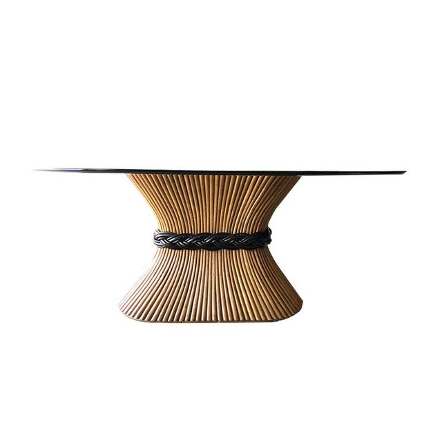 Black Large McGuire Rattan Trompe L' Oeil Tole Pedestal Dining Table or Center Table With Oval Glass Top 1950's For Sale - Image 8 of 10