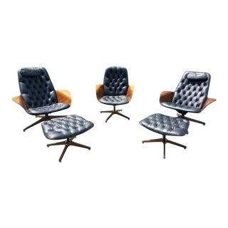 Plycraft Mr. & Mrs. Chairs & Ottomans - Set of 5