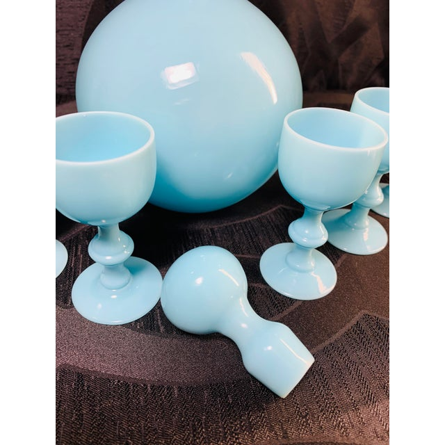 1930s Antique French Blue Opaline Decanter and Cordial Goblets Glassware Portieux Vallerysthal - Set of 7 For Sale - Image 11 of 13
