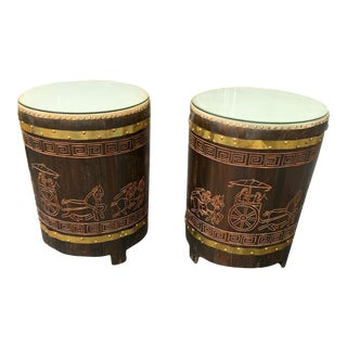 1950s Asian Dark Brown Wooden Drum Tables - a Pair For Sale