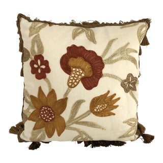 Vintage Ej Victor Embroidered Silk Accent Pillow For Sale
