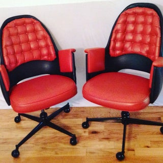 Pair MCM Club Chairs on Casters in Red and Black 70s Preview