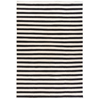 Contemporary Oversize Black & White Striped Kilim Large Flatweave Wool Rug For Sale