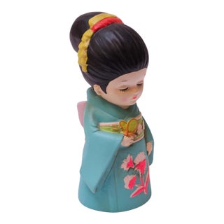 "Mid-Century Japanese Paper Mache ""Girl in Kimono"" Bank For Sale"
