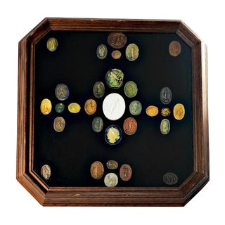 Grand Tour Italian Multi Color Antique Cameos and Intaglios, Framed For Sale