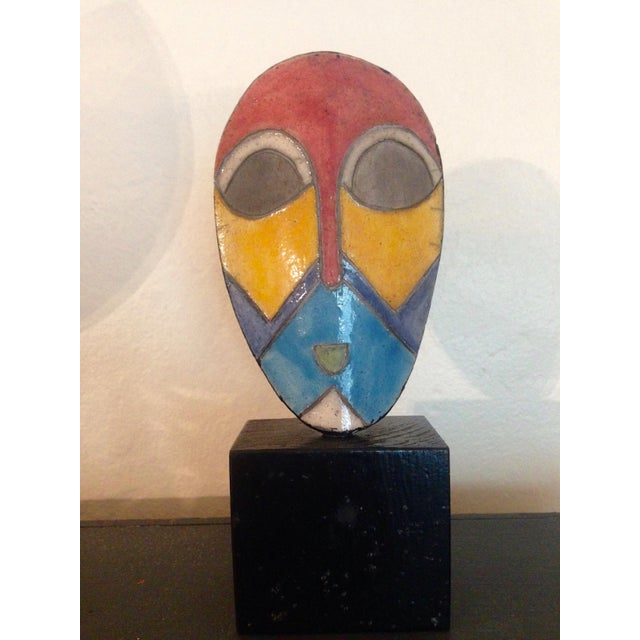 African Enamel Mask On Stand - Image 3 of 3