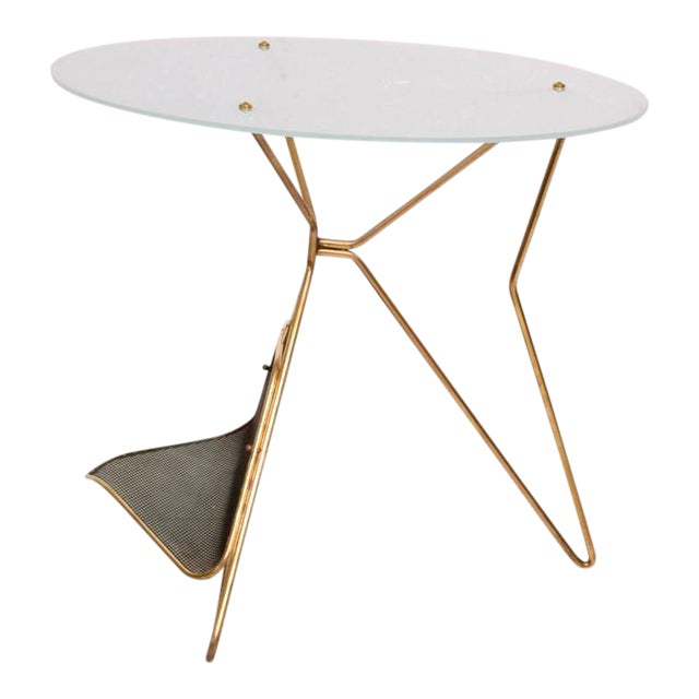 Mid-Century Modern Italian Table With Magazine Holder For Sale