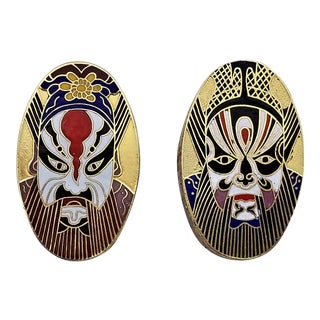 Vintage Chinese Cloisonne Kabuki Mask Trinket Boxes -A Pair For Sale