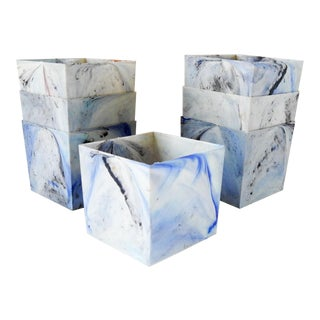Mid-Century Modern Marbled Blue Plastic Flower Pot Covers - Set of 7 For Sale